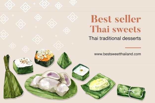 Plantilla de banner dulce tailandés con arroz pegajoso, pudín, acuarela de ilustración de plátano. vector gratuito