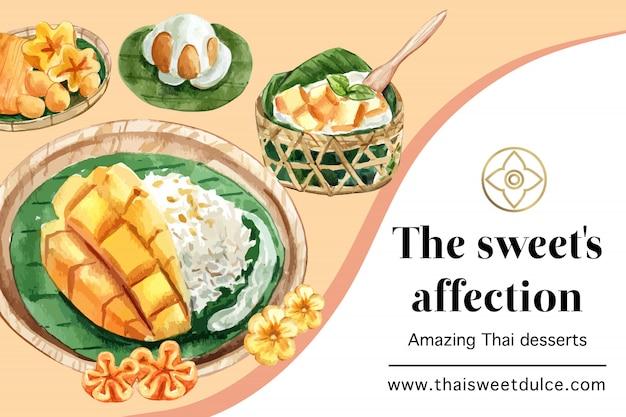 Plantilla de banner dulce tailandés con hilos de oro, acuarela de ilustración de arroz pegajoso. vector gratuito