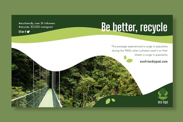 Plantilla de banner de ecología vector gratuito