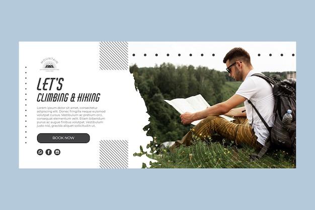 Plantilla de banner de escalada con foto vector gratuito