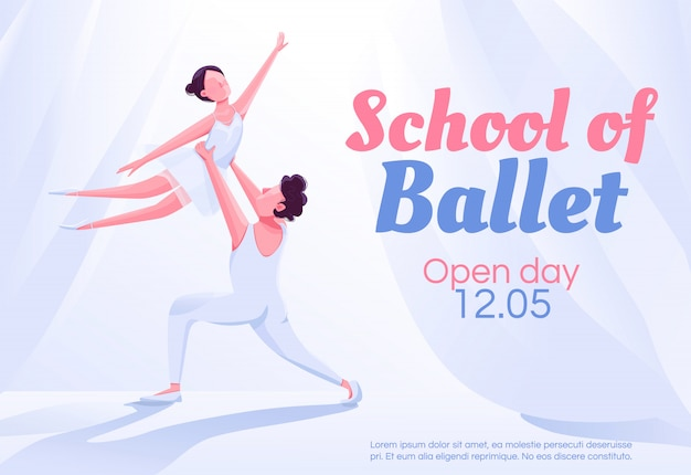 Plantilla de banner de escuela de ballet Vector Premium