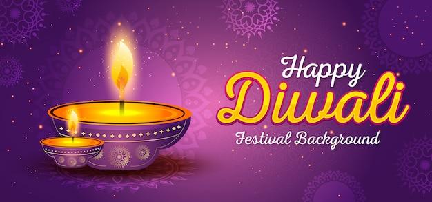 Plantilla de banner del festival de diwali Vector Premium