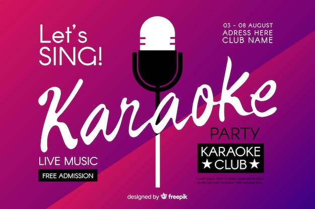 Plantilla de banner de fiesta de karaoke vector gratuito