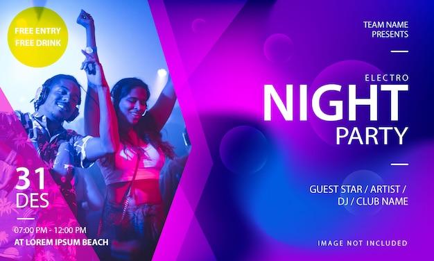 Plantilla de banner de fiesta de noche de electro music Vector Premium