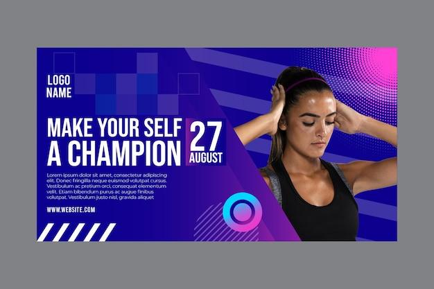 Plantilla de banner para fitness y deportes. vector gratuito