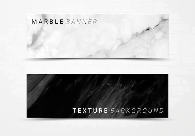 Plantilla de banner de fondo de textura de mármol blanco y negro. Vector Premium