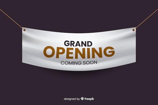 Plantilla de banner de gran apertura realista vector gratuito