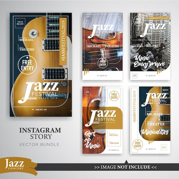 Plantilla de banner de historias de instagram del festival de jazz o música Vector Premium