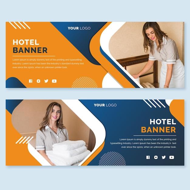 Plantilla de banner horizontal de hotel plano con foto vector gratuito