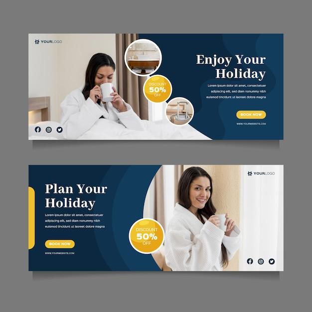 Plantilla de banner de hotel con foto vector gratuito