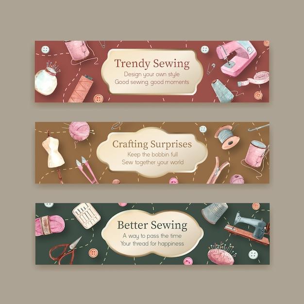 Plantilla de banner con ilustración acuarela de diseño de concepto de costura. vector gratuito