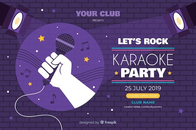 Plantilla banner karaoke estilo plano vector gratuito