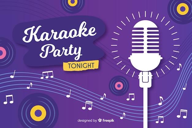 Plantilla banner karaoke estilo plano Vector Premium