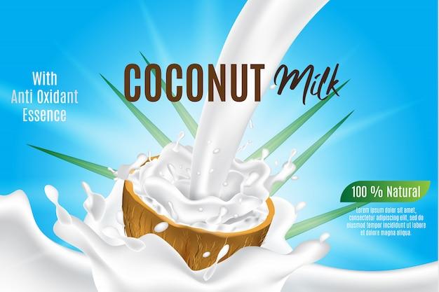 Plantilla de banner, leche de coco para producto y paquete, salpicaduras de coco realista 3d en rodaja de coco Vector Premium