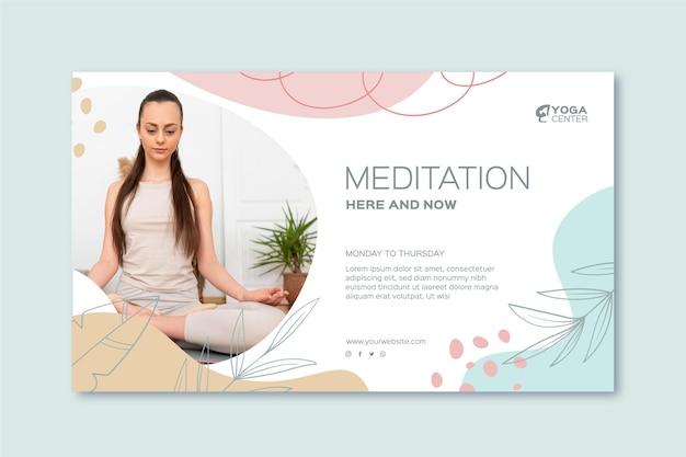 Plantilla de banner de meditación y atención plena vector gratuito
