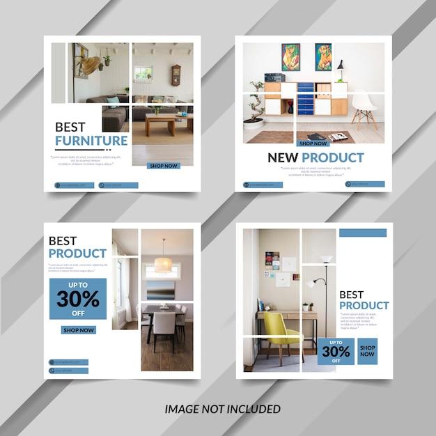 Plantilla de banner de muebles azules modernos Vector Premium