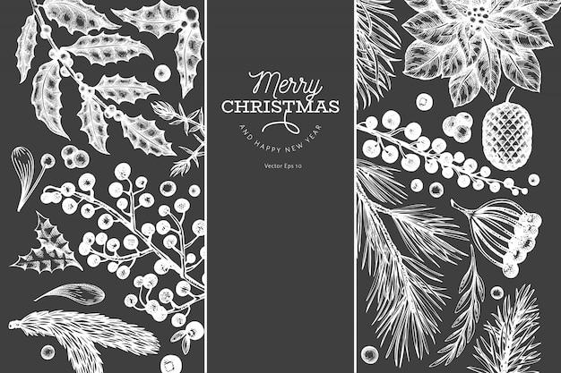 Plantilla de banner de navidad. ilustraciones dibujadas a mano en la pizarra. tarjeta de felicitación en estilo retro. Vector Premium