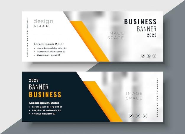 Plantilla de banner de negocios profesional amarillo elegante vector gratuito