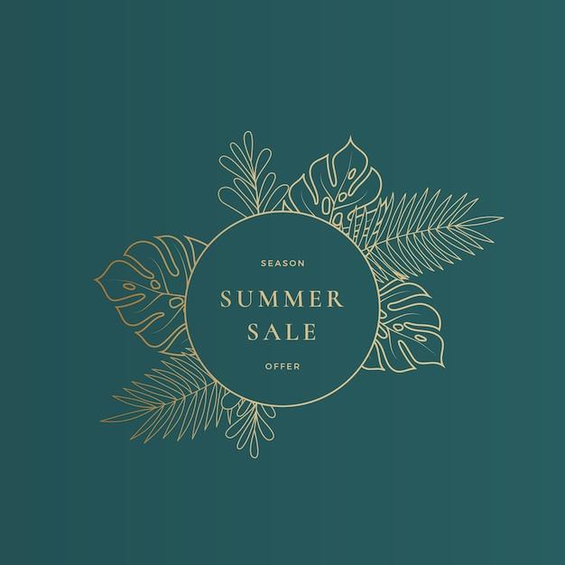 Plantilla de banner o tarjeta de venta de verano de hojas tropicales de monstera redondas vector gratuito
