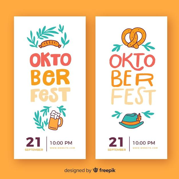 Plantilla de banner del oktoberfest en diseño plano vector gratuito