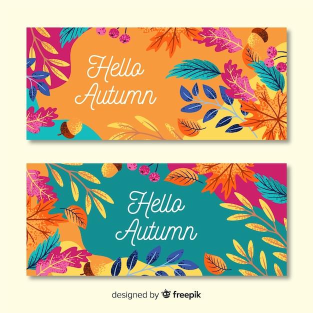 Plantilla de banner otoño dibujado a mano vector gratuito