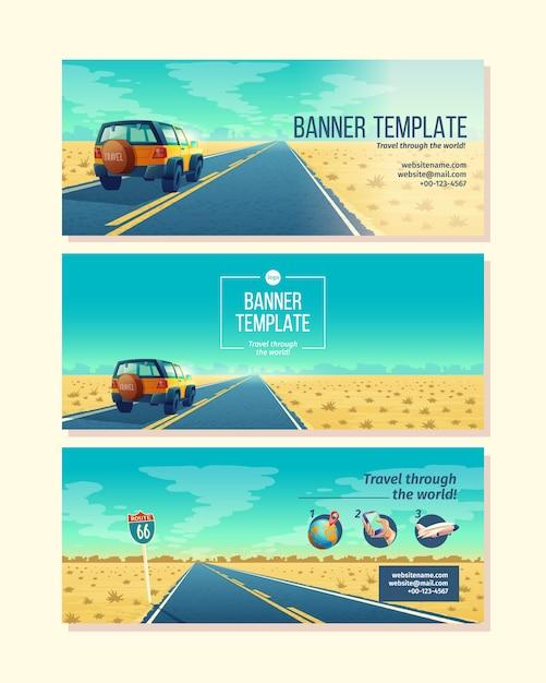Plantilla de banner con paisaje desértico. concepto de viaje con suv en camino de asfalto al cañón vector gratuito