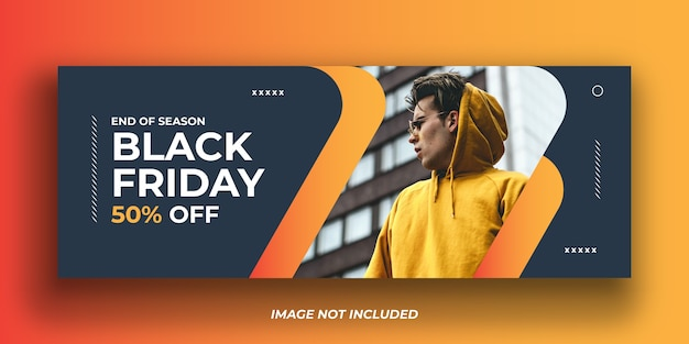 Plantilla de banner de portada de facebook de black friday fashion Vector Premium