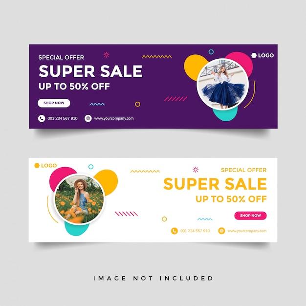 Plantilla de banner de portada de facebook de venta de moda Vector Premium