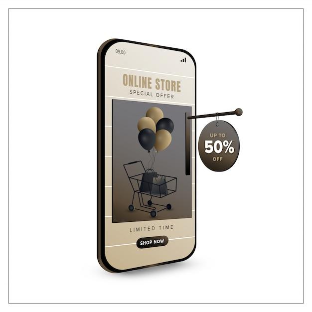 Plantilla de banner de promoción de compras en línea en concepto de aplicación móvil Vector Premium