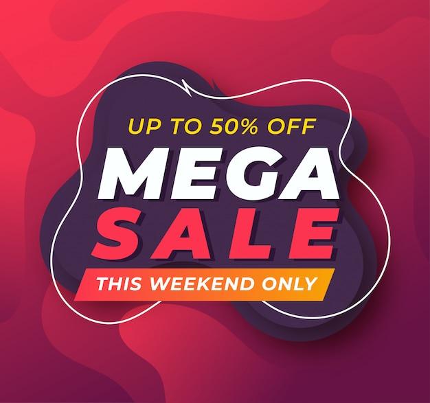 Plantilla de banner de promoción de mega venta Vector Premium