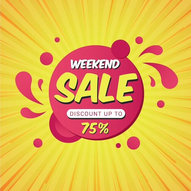 Plantilla de banner de promoción de venta de fin de semana Vector Premium