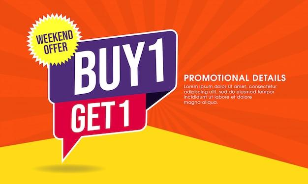 Plantilla de banner promocional de venta Vector Premium