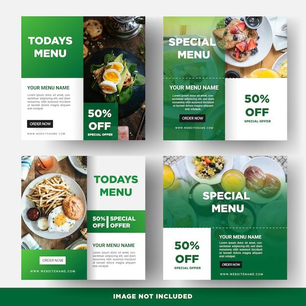 Plantilla de banner de redes sociales de alimentos Vector Premium