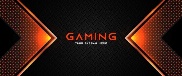 Plantilla de banner de redes sociales de encabezado de juego naranja y negro futurista Vector Premium