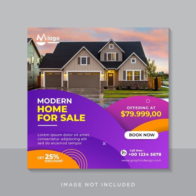 Plantilla de banner de redes sociales de venta de bienes raíces de casa moderna Vector Premium