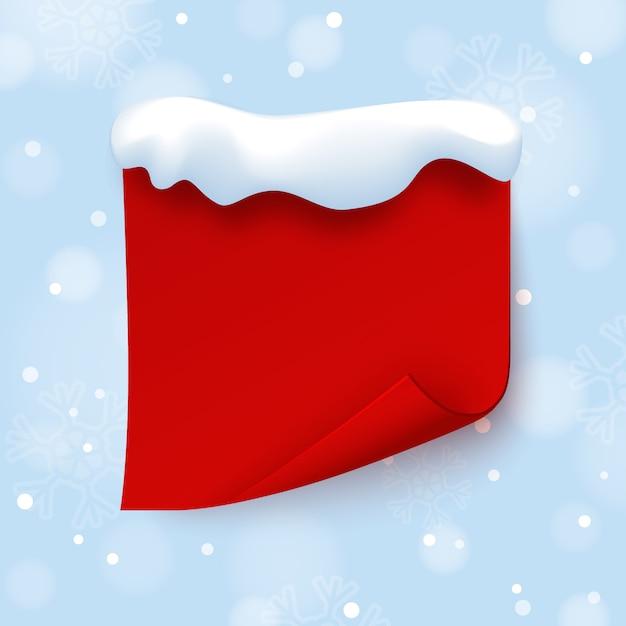 Plantilla de banner rojo con gorro de nieve en invierno azul Vector Premium