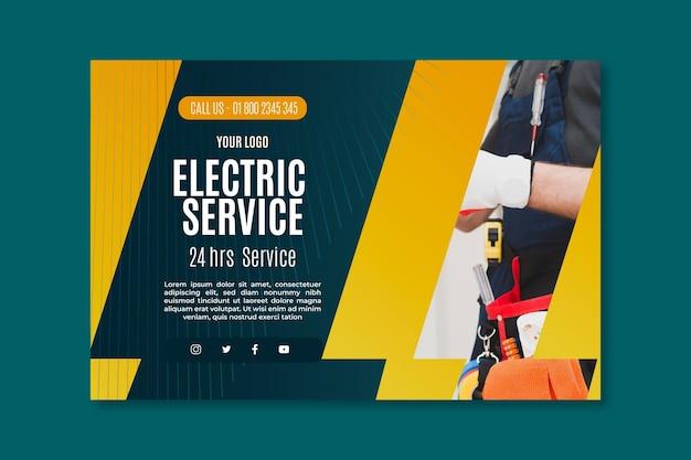 Plantilla de banner de servicio de electricista vector gratuito