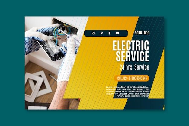 Plantilla de banner de servicio de electricista Vector Premium
