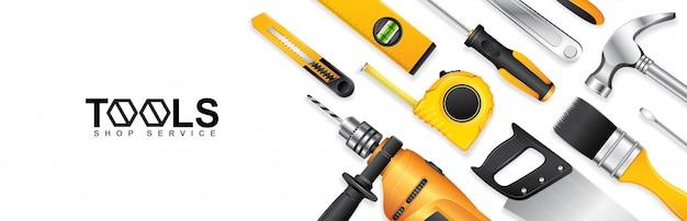 Plantilla de banner de servicio de tienda de herramientas de construcción Vector Premium