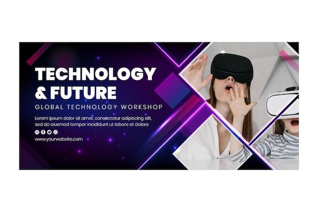 Plantilla de banner de tecnología y futuro vector gratuito