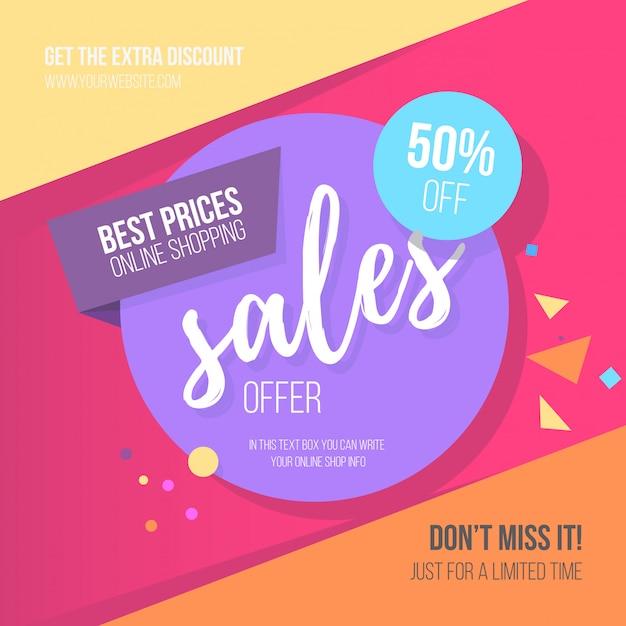 Plantilla de banner de venta colorida vector gratuito