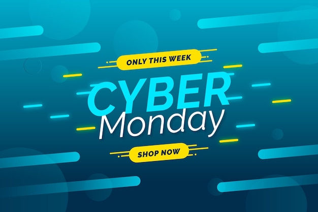 Plantilla de banner de venta de diseño plano cyber monday vector gratuito