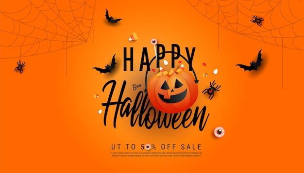 Plantilla de banner de venta de feliz halloween. calabazas de halloween y murciélagos voladores Vector Premium
