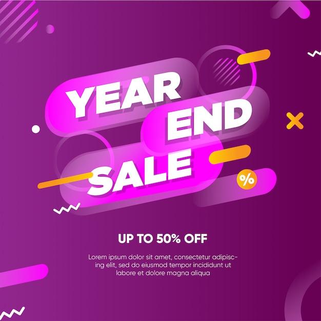 Plantilla de banner de venta de fin de año Vector Premium
