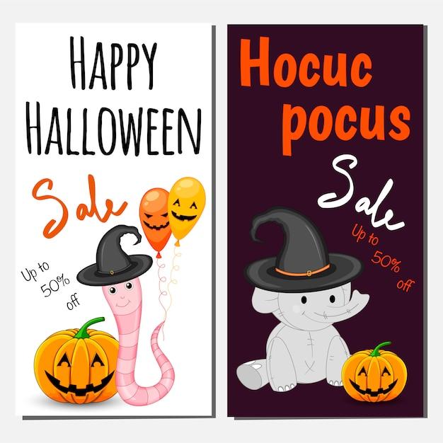 Plantilla de banner de venta de halloween. estilo de dibujos animados Vector Premium