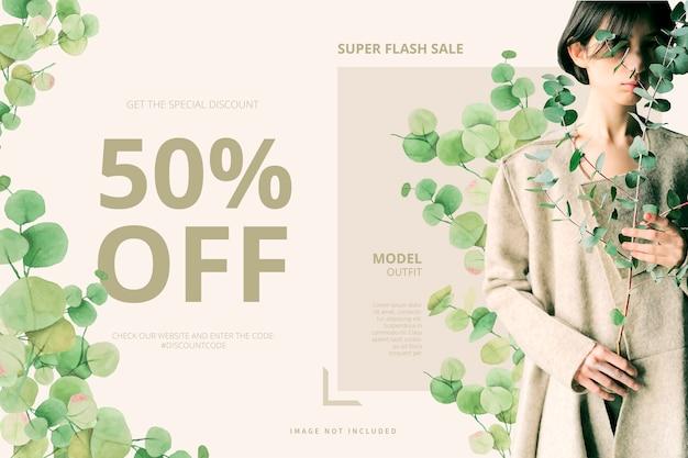Plantilla de banner de venta con hojas de acuarela vector gratuito
