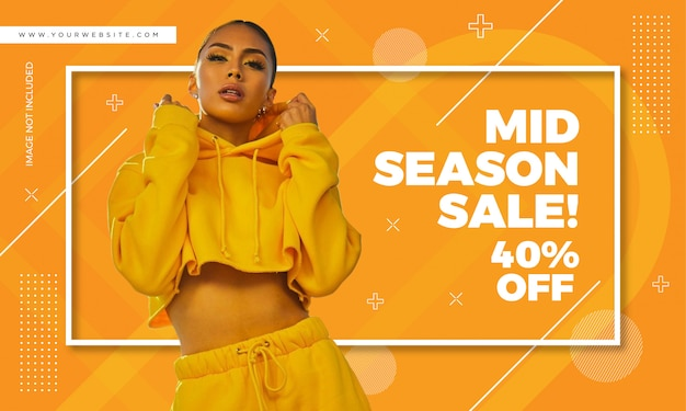 Plantilla de banner de venta de moda Vector Premium