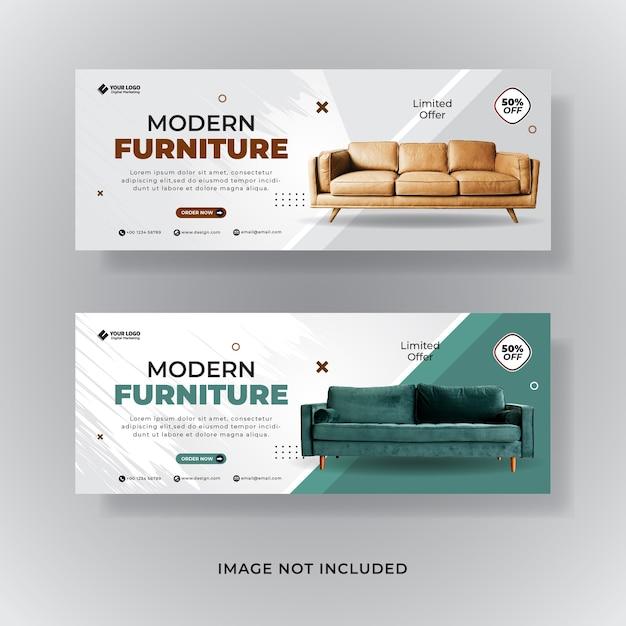 Plantilla de banner para venta de muebles Vector Premium