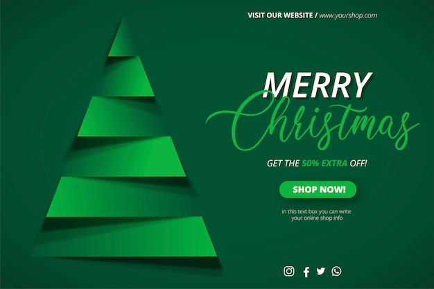 Plantilla de banner de venta de navidad con árbol de navidad de papercut vector gratuito