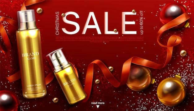 Plantilla de banner de venta de navidad de cosméticos, regalo de productos de belleza tubos de bomba de cosméticos de oro con adornos de decoración festiva cinta y destellos vector gratuito